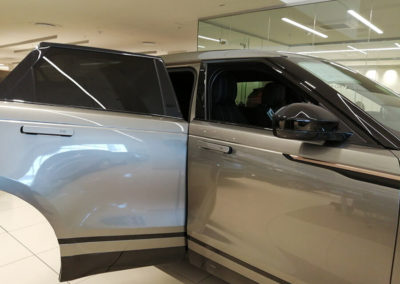 Range Rover Velar window shade sock from the outside view from front
